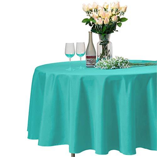 VEEYOO Mantel Redondo 100% Poliéster Paño de Ducha Circular Nupcial - Cubierta de Mesa de Cena Suave y sólida para la Boda Partido Restaurante (Turquesa, Redono 335 cm)