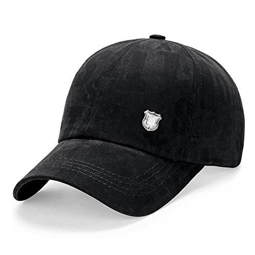 Lamdgbway Unisex Baseballmütze Baumwolle Einstellbare Trucker Hut Baseballkappe Schwarz