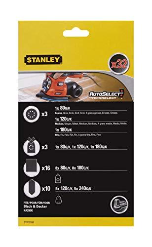 Stanley STA37095-XJ Schleifpapier-Set für Multischleifer (32-tlg, Exzenter-und Multi-Schleifpaper, Schleifblätter, Fingerschleifaufsatz/Konturenschleifen, passend für KA280K von Black+Decker)