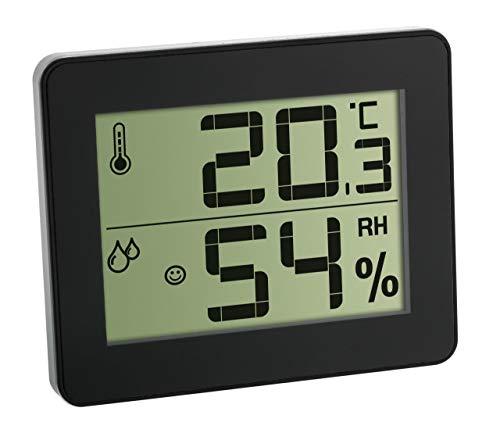 TFA Dostmann Digitales Thermo-Hygrometer, 30.5027.01, zur Kontrolle von Innentemperatur und Luftfeuchtigkeit, Max.-Min.-Werte, ultra-flach, schwarz