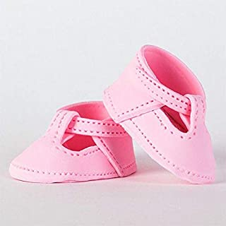 Baby Mary Jane Shoes Fondant Cake Topper, 1 Pair, Pink