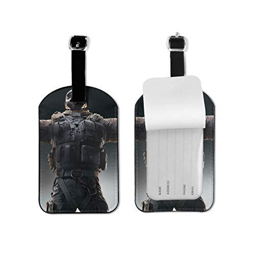 Rainbow-Six-Siege Gepäckanhänger aufgereiht Anhänger / Krawatte auf Gepäcketiketten Gepäckanhänger Karte Mikrofaser-PU-Leder 7cmx11cm