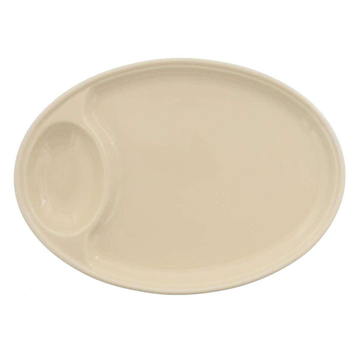 テロリスト路地違反テーブルウェアイースト 餃子皿 楕円 クリーム プレート 中皿 和食器 (クリーム)