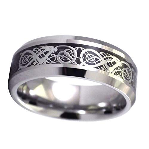 Fantasy Forge Jewelry Tungsten Celtic Dragon Ring Viking Black Wedding Band Handfasting Size 8