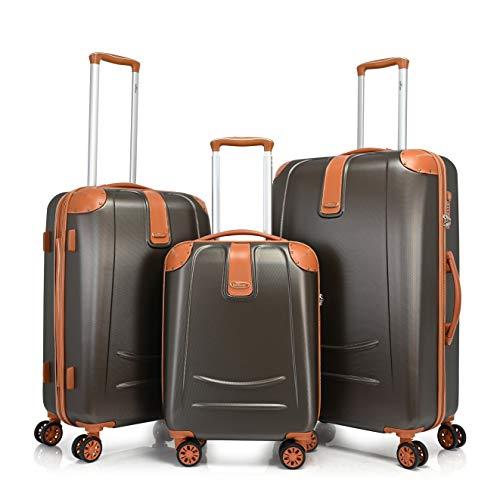 Bontour Elegance Hartschalen-Koffer mit TSA-Schloss, Trolley Rollkoffer Reisekoffer mit Zwillingsrollen (Kaffee, 3 Stück Kofferset)