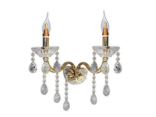 Vetrineinrete Applique candelabro lampada da parete con gocce pendenti di cristallo in acrilico 2 bracci attacco E14 oro e argento stile retrò E35-O illuminazione lampadario casa (Oro) G66