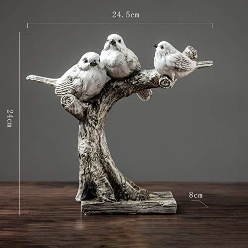 Sculpture pour Office Bureau,Terrasse Figurine,Décor Extérieur Famille D'oiseau Statue Ornement Perché sur l'arbre,Miniature Statue C 24.5x24cm(10x9inch)