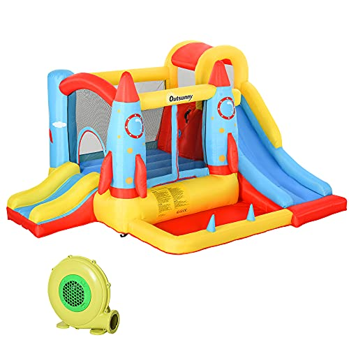 Outsunny Kids Bounce Castle House Inflatable Trampoline Slide Water Pool 3 in 1 with Inflator for Kids Age 3-10 Rocket Design 3.4 x 2.8 x 1.85m
