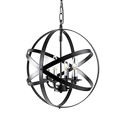 Furgle Pendant Hanging Light, Industrial Style Metal Globe Vintage Ceiling Lights, Rustic Chandelier, Fixture for Kitchen Island Dining Room Hall Farmhouse Entryway Foyer Bedroom