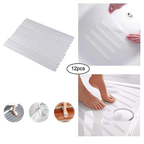 Fanwer Anti-Slip Tape, Clear Textured Slip Resistant Strips, Geschikt voor badkamer, Badkuip, Zwembad, Trap, Keuken (12St.)