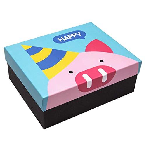 Lsmaa Caja Cerdo Serie-Feliz, la Caja del Caramelo, Conveniente for la celebración de días del Aniversario de Boda, Azul, Plaza/Rectangular (Size : Small)