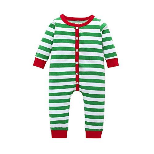 POLP niño Familia Navidad Pijamas Rayas Hombres Mujer Chico Niña Niños Bebé Sleepwear Ropa de Dormir Manga Larga Blusa y Raya Pantalones Navidad Familia Conjunto a Rayas