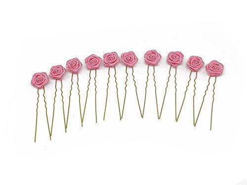 10 x Rosen auf Haarnadel - für flache Haarpartien - Brauthaarschmuck   G-F - Pink