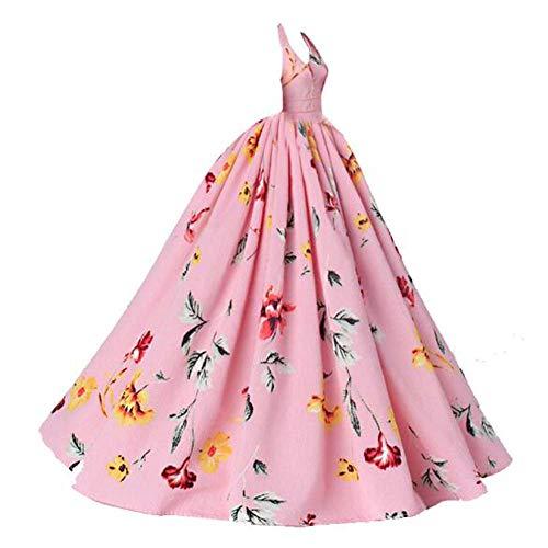 BLANCHO BEDDING Handgemachte rosa Blumen Abendkleid Freizeitkleidung Hochzeitsparty Kleid Puppe Kleidung für 23-Zoll-Puppe