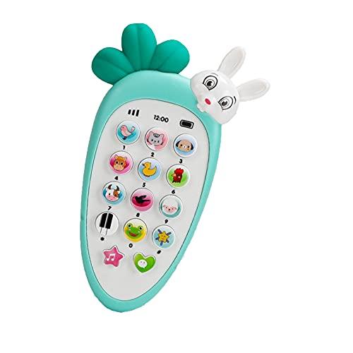 Baby mobiele telefoon speelgoed, voorschoolse leren speelgoed, afstandsbediening babytelefoon, met een gloeiende konijn, muziek, baby leren speelgoed-Green