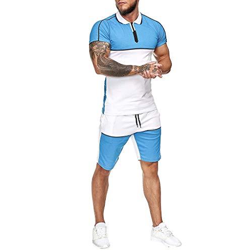 GBEN Verano - Chándal deportivo para hombre de 2 piezas, camiseta + pantalones cortos de chándal con cuello redondo, camiseta de manga corta, M-5XL para correr, correr o gimnasio