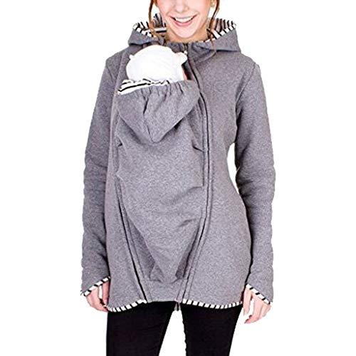 MissChild Damen Babytrage Umstandsjacke 2 in 1 Baby Carrier Hoodies Neugeborene Känguru Jacken Freizeitjacke Sweatshirt Mommy Kangaroo Mantel