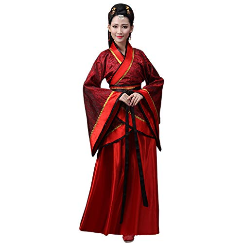 KINDOYO Damen Aufführungen Kostüm Nationalen Traditionellen Hanfu Cosplay Kleidung Altertümlich Chinesische Braut Kostüm Tang Anzug, Rot/2XL