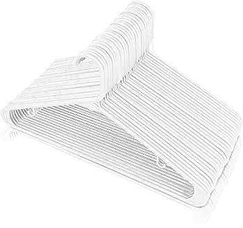 Utopia Home Plastic Hangers with Hooks - Plastic Clothes Hangers - Lightweight Space Saving Hangers- Plastic Standard Hangers for Clothes Tubular Hangers - Durable Slim & Sleek Hangers  White 50