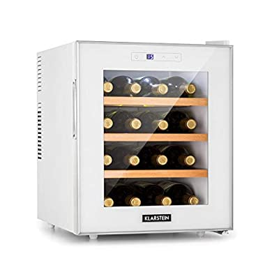 Klarstein Reserva 16 Blanco Wine Cooler - Wine Fridge, Thermoelectric Beverage Cooler, Energy Efficiency Class A, 34 dB, 1 Zone, 48 litres, 16 Bottles, 11-18 ° C, LED Display, White