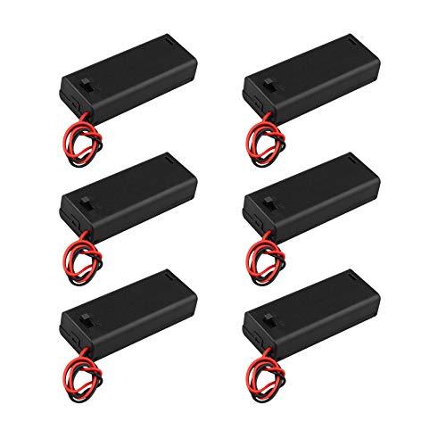 HALJIA 6 piezas 2 x AAA 3 V batería titular caso caja de almacenamiento de la batería de plástico con interruptor ON/OFF