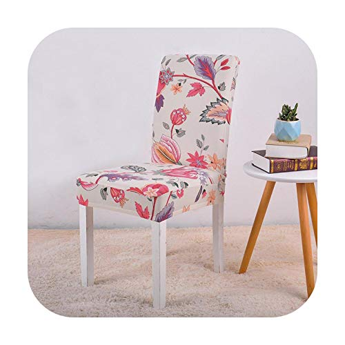 Slipcovers 1/2/3/4 Pcs Chair Cover Spandex Stretch Kitchen Seat Slip Cover for Dining Room Printed Pattern Housse De Chaise-Flower Chair Cover-1Pc