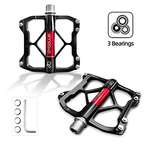 CYCPLUS Bicycle Pedals, 3 Bearings Mountain Bike Road Bike Pedals, Ultralight Aluminum Alloy Bicycle Pedals with Big Platform and 9/16 Inch Axle, Non-Slip Trekking MTB BMX Pedals Black & Red