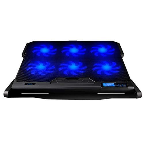 ZUIZUI USB Laptop Cooling pad Holder 6 6 Cooler Fan Speed Externa Pantalla LCD Base Refrigerador Ventilador Radiador Soporte pad 14 para 15.6 pulgadas Portátil (negro)