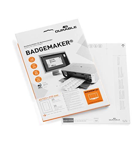 Durable Badgemaker - Pack de 20 cartulinas para impresión profesional de portanombres de mesa microperforadas con esquinas redondeadas, 61 / 122 x 210 mm, color blanco