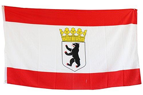 Creation Gross Fahne/Flagge Berlin, Bär & Krone mit Metallösen zum Aufhängen 0,90m x 1,50m