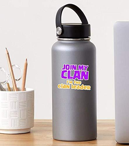 3 Stück Aufkleber Join My Clan I'm The Clan Leader – Clash On – 7,6 x 10,2 cm Wandaufkleber für Laptop, Fenster, Auto