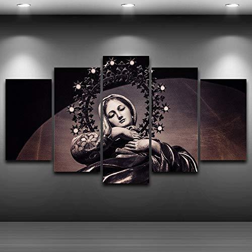 zysymx Pintura de la Lona Decoración de la Habitación de los Niños 5 Panel Misa Corona Corona Virgen María Santa Virgen Iglesia Capilla Imprimir Cuadros Modulares Marco Cartel