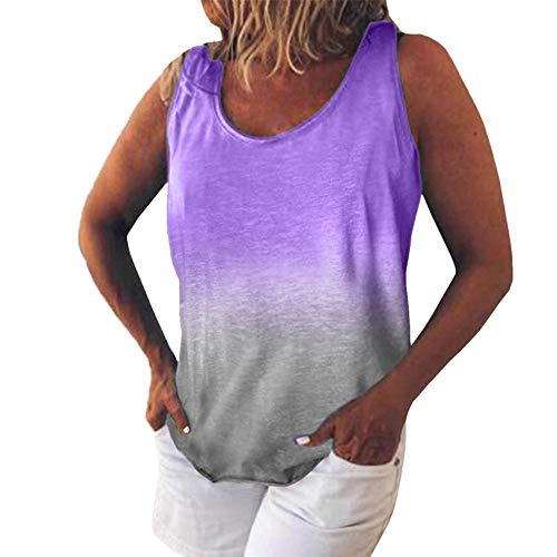 PRJN Camiseta sin Mangas sin Mangas con Efecto Tie-Dye, Chaleco túnica Informal, Camisa Superior, Blusa, Camiseta, Blusa sin Mangas de Verano para Mujer, Blusa Informal, Camisetas sin Mangas