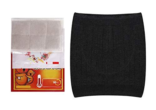 YJZQ Elastischer Winter Nierenwärmer Rückenwärmer mit Tasche Gürtel aus Kaschmir-Wolle Atmungsaktiv Leibwärmer für Hexenschuss Rückenschmerzen Menstruationsbeschwerden für Damen Herren M/L/XL,Schwarz