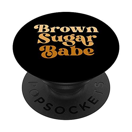 Brown Sugar Babe Retro 60s 70s 80s Melanin Pride Orgullo Negro PopSockets PopGrip Intercambiable
