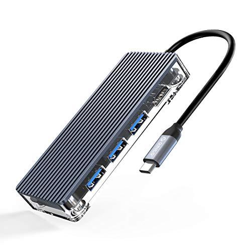 ORICO 7 in 1 USB C Hub 100W Power Delivery 3 USB 3.0 Data Ports, 4K@30Hz HDMI, SD/TF-Kartenleser für MacBook Air, MacBook Pro, XPS, Pixelbook, und mehr Typ C Laptop