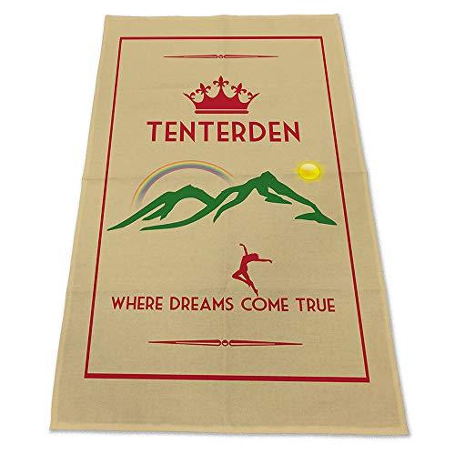 Fresh Publishing Ltd Tenterden, Where Dreams Come True, UK Location, Humorous Art Deco Style Design, Cotton Tea Towel, Size 30in x 19in.