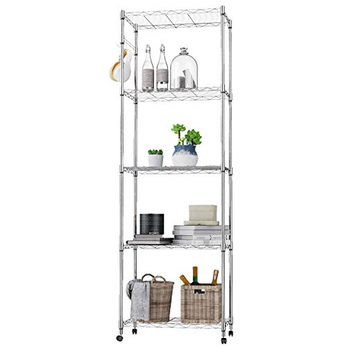 BATHWA 5-Shelf Wire Shelving Units, Sturdy Metal Shelf Chrome Organizer Wire Rack with 360° Wheels, Adjustable Utility Storage Shelves for Garage, Kitchen, Living Room, Bathroom, 23.2L x 13.8W x 72H