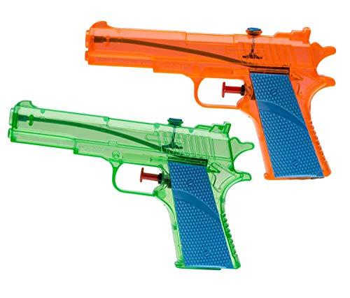 Idena 40112 - Wasserpistolen aus Kunststoff, 2 Stück, grün und orange, ca. 18 cm, für Kinder, perfekt für den Urlaub, am Strand oder Pool