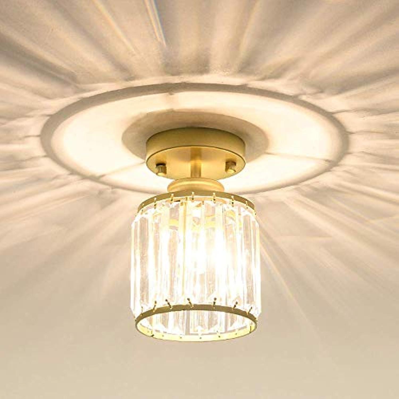 WENYAO Kristall Licht Runde Einfache Lampe Schwarz Gold Dekorative Kronleuchter für Schlafzimmer Wohnzimmer Restaurant Bar Korridor E27 Lichtquelle (Farbe  Gold)