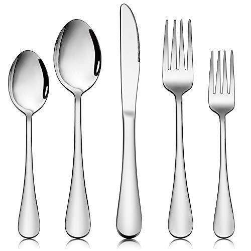 Homikit 40-Piece Silverware Flatware Set for 8, Stainless Steel Eating Utensils Cutlery Includes Knives/Spoons/Forks, Tableware for Home Restaurant Party, Dishwasher Safe, Mirror Polished