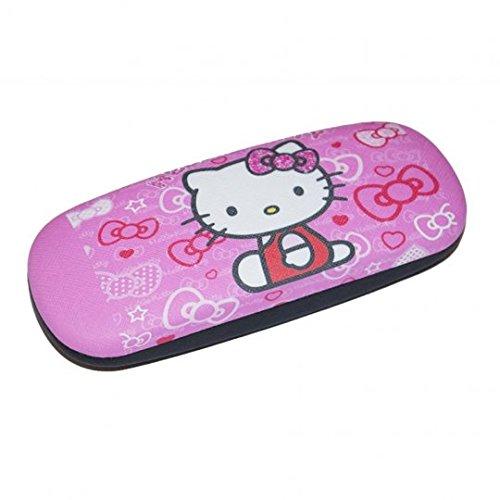 süßes Brillenetui für Kinder | Hello Kitty in rosa/schwarz mit Metallscharnier