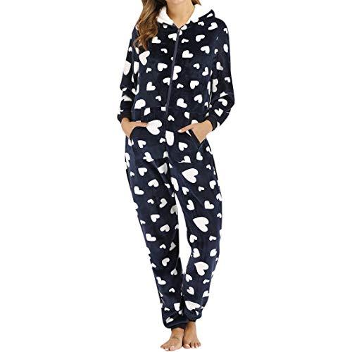Shujin Mono de mujer de franela entero, mono de pijama con forro polar y cremallera, mono, con capucha, mullido y cálido marine L