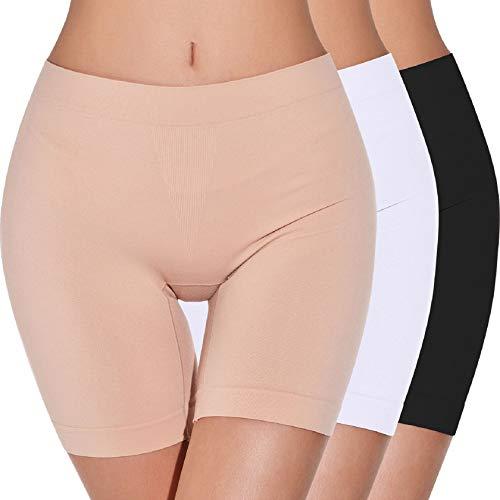 Tuopuda Bragas Mujer Cintura Alta,Bragas sin Costuras para Mujeres Panties Antideslizantes Lisas Debajo de los Vestidos Pantalón Corto Deportivo para Mujer