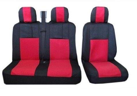 flexzon Copri SEDILI COPRISEDILI 2+1 Rosso Tessuto per Renault TRAFIC Master Opel VIVARO MOVANO Ford Transit IVECO Daily Fiat Scudo DUCATO