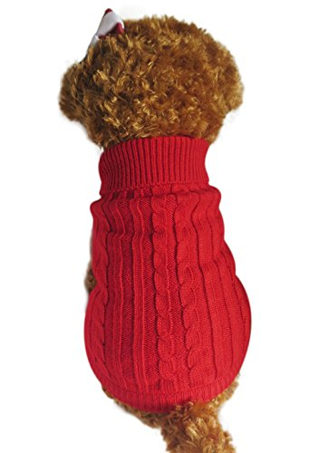 Strickwolle Hundepullover Hundemantel Hundejacke Hunde Weste Winter Herbst warme Hundebekleidung für Kleine und Mittlere Hunde Teddy Chihuahua Shiba Dachshund Bulldog XS S M L