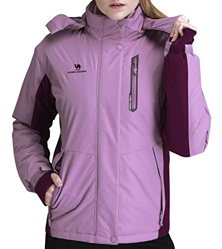 CAMEL CROWN Women's Mountain Snow Waterproof Ski Jacket Detachable Hood Windproof Fleece Parka Rain Jackt Winter Coat Purple S