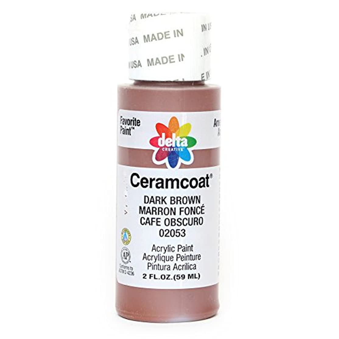 Delta Creative Ceramcoat Acrylic Paint in Assorted Colors (2 oz), 2053, Dark Brown