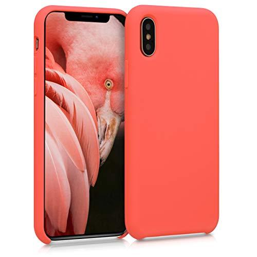 kwmobile Hülle kompatibel mit Apple iPhone X - Hülle Silikon gummiert - Handyhülle - Handy Hülle in Living Coral