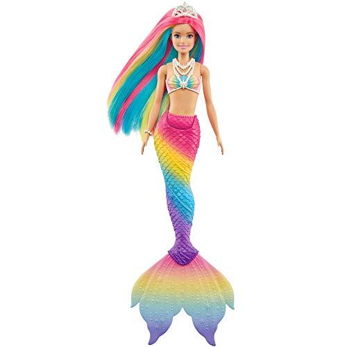 Barbie Dreamtopia Muñeca sirena arcoiris mágico, cambia de color en el agua, regalo para niñas y niños +3 años (Mattel GTF89)